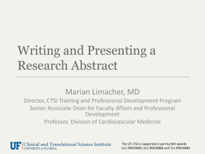 Writing and Presenting a Research Abstract