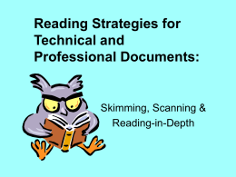 Reading Strategies for Technical and Professional Documents: