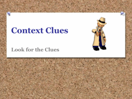 Context Clues PowerPoint - Montgomery County Schools