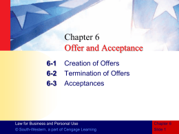 CHAPTER 6 Offer and Acceptance