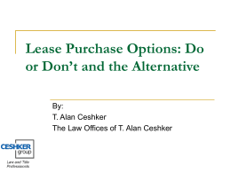 Lease Purchase Option Presentation