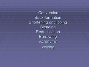 Conversion Back-formation Shortening or clipping