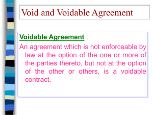 Void and Voidable Agreement