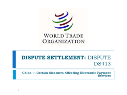 WTO Finding