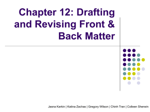 Chapter 12: Drafting and Revising Front & Back Matter