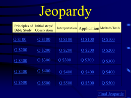 Bible Study Jeopardy