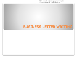 Letter Writing - National University of Singapore