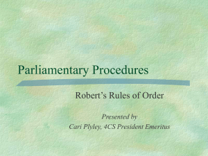 Role of the Senate Robert`s Rules