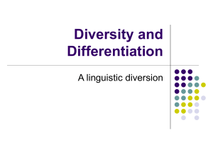 Diversity and Differentiation