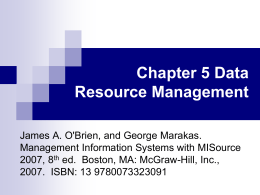 Chapter 5 Data Resource Management