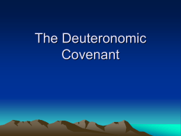 Lesson 9 - The Deuteronomic Covenant