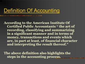 Concept of Accounting And Review Of Balance Sheet