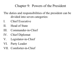 Chapter 9: Powers of the President