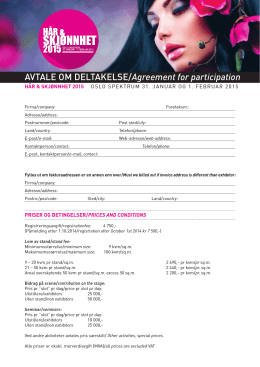 AVTALE OM DELTAKELSE/Agreement for