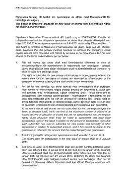 Styrelsens förslag – punkt 7 - NeuroVive Pharmaceutical AB
