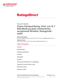 Västra Götaland:Rating `AAA` och `K