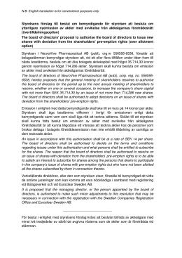 Styrelsens förslag – punkt 8