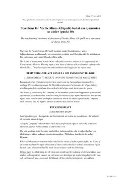 Styrelsens för Nordic Mines AB (publ) beslut om nyemission av