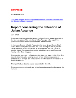 Report concerning the detention of Julian Assange