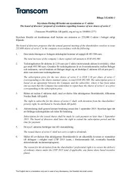 Bilaga 3/Exhibit 3 Styrelsens förslag till beslut om