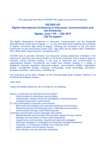 DICOEN VIII Eighth International Conference in Discourse