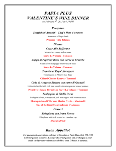 PASTA PLUS VALENTINE`S WINE DINNER