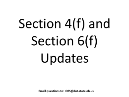 Section 4(f) and Section 6(f) Updates