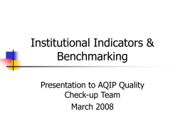 Indicators, Benchmarking - Lorain County Community College