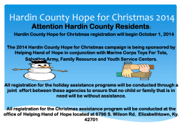 Hardin County Hope for Christmas registration will begin October 1