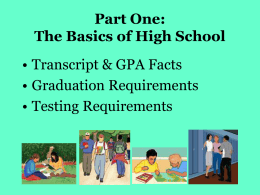Informational Presentation regarding Graduation Requirements