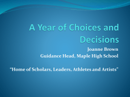 A Year of Choices and Decisions - York Region District School Board
