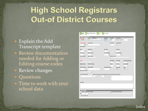 Out of District Codes Presentation - Sacramento City Unified School