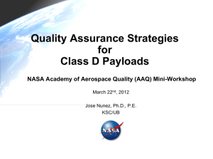 Payload Quality Assurance - Academy of Aerospace Quality