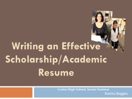 Writing an Effective Scholarship Resume