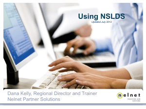 Session 1 - Hands-on NSLDS