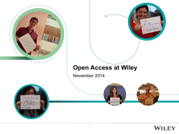 Open Access at Wiley - London Info International