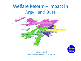 Welfare Reform * Impact in Argyll and Bute