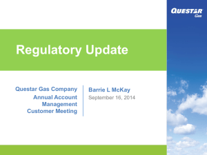 Barrie McKay - VP State regulatory affairs, Questar Gas Company