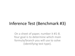 Inference Test (Benchmark #3 Review)