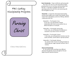 FBC Godley Discipleship Program Pursuing Christ