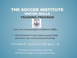 Soccer Institute winter Skills Training Program