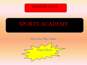 SPORTS ACADEMY - Francis Lewis High School