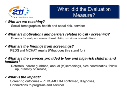 Evaluation Overview Developmental Screening