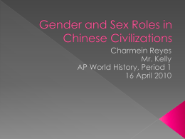 Gender and Sex Roles in Chinese Civilizations