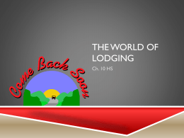 ch. 10 The World of Lodging