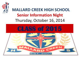What`s Next After High School - Mallard Creek Hs Student services