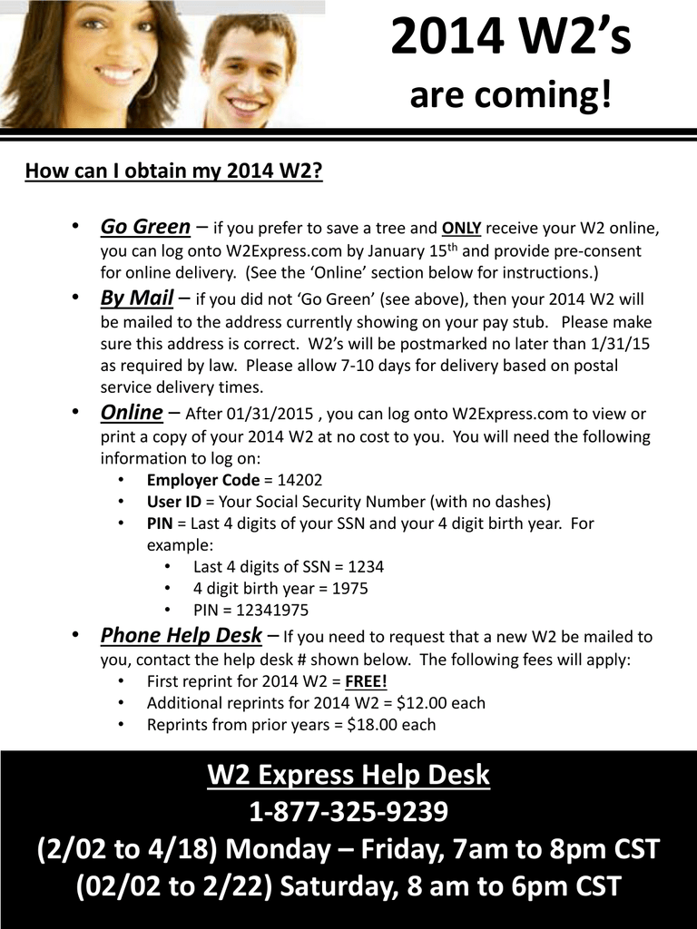 W2 On Line access Information