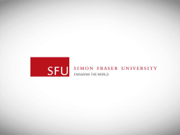 SFU Next Steps (Follow Up Visit in Spring) 2014