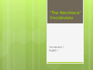 *The Necklace* Vocabulary
