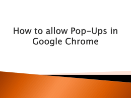 Allowing Pop-Ups in Google Chrome